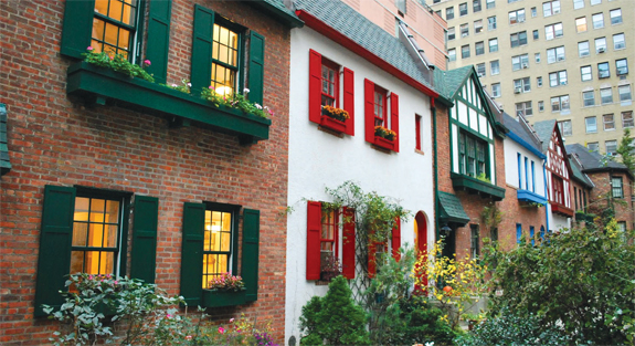Tudor-style houses on the Upper West Side's Pomander Walk.