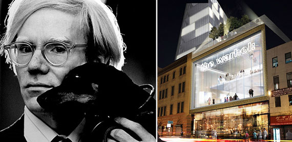 From left: Andy Warhol and a rendering of the planned museum at Essex Crossing