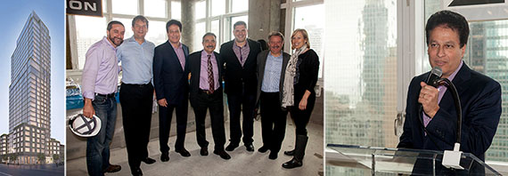 From left: the Halcyon at 51st Street, Steven Spektor (HFZ Capital Group), James Davidson (SLCE Architects), Ziel Feldman (HFZ Capital Group), Enrique Jimenez (SLCE Architects), John Simonlacaj (HFZ Capital Group), Luigi Russo (SLCE Architects), MacKenzie Landers Thorn (HFZ Capital Group) and Feldman