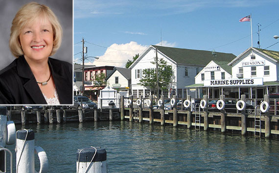 Elliman's Karla Dennehy (inset) and Greenport, Long Island