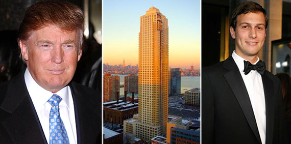 From left: Donald Trump, the Trump Plaza Residences at 88 Morgan Street in Jersey City and Jared Kushner