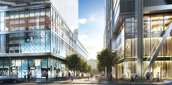 A rendering of the street-level retail for 4 World Trade Center, left, and 3 World Trade Center