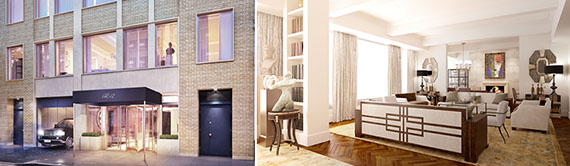 An exterior rendering of 17 East 12th Street and a rendering of a project living room