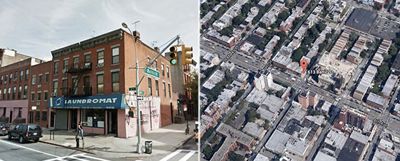 From left: 613 Baltic Street now and an aerial view of the site (Source: Google Maps)
