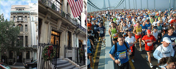 From left: 9 East 89th Street and runners in the New York City marathon