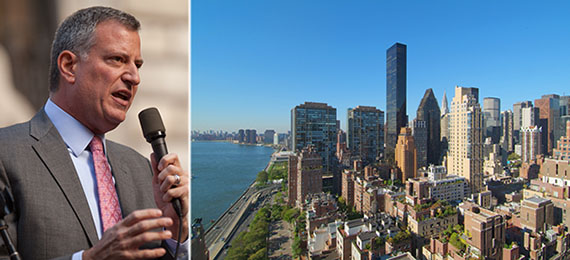 From left: Mayor Bill de Blasio and the view of midtown East