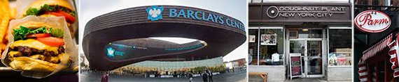 From left: a Shake Shack hamburger, the Barclays Center, Doughnut Plant and Parm