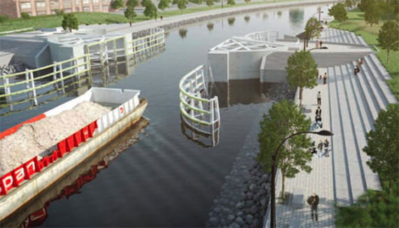 Rendering of flood barriers along the Gowanus Canal