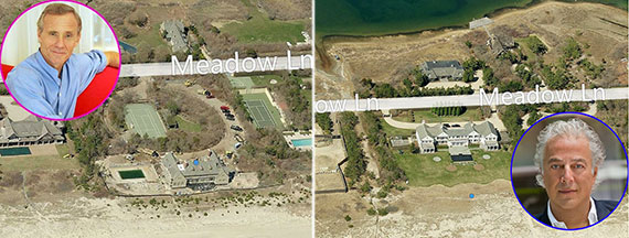 From left: Hotelier Ian Schrager, his Southampton home along Meadow Lane, RFR's Aby Rosen and his 3.4-acre spread down the street