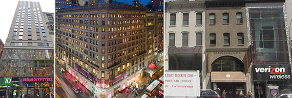 From left: 180 Broadway, 2 Herald Square and 985-987 Third Avenue