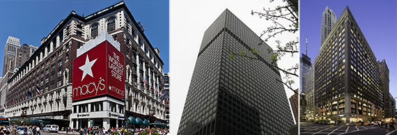 From left: Macy's, 919 Third Avenue and 1440 Broadway