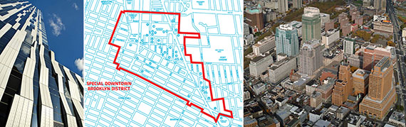 From left: The Toren, Downtown Brooklyn rezoning map and Metrotech