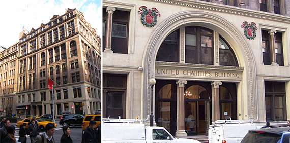 From left: United Charities Building at 287 Park Avenue South and entrance