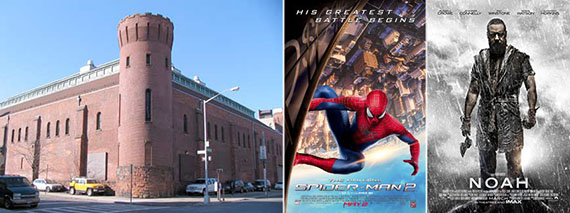 From left: Williamsburg Armory, Amazing Spider-Man 2 and Noah