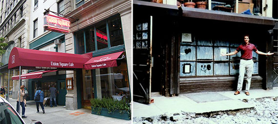 From left: Union Square Cafe today and 21 East 16th Street in 1985