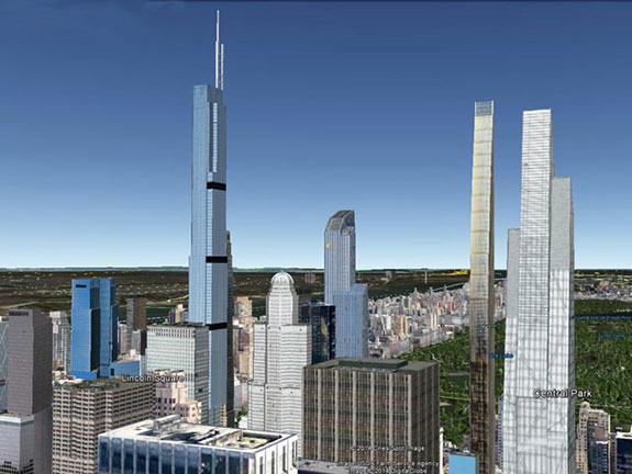 The new New York skyline with 225 W 57th Street, 157 West 57th Street, 111 W 57th Street, and 53 West 53rd Street