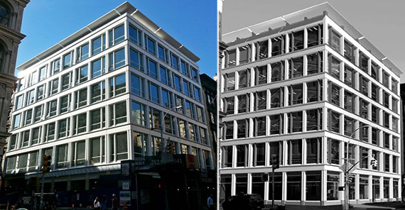 Photo and rendering of 433 Broadway