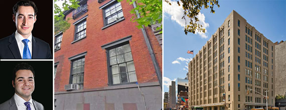 Clockwise from top left: Joseph Koicim, 433-436 West 22nd Street, the Avenues school and Sean Lefkovits