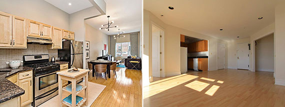 From left: A $515,000 condo at 539 Gates Avenue in Brooklyn and a $340,000 co-op at 19-19 24th Avene