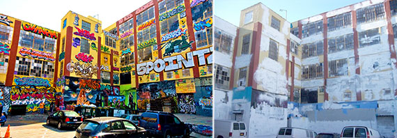5Pointz before and after the building was whitewashed in November