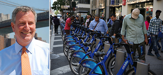 From left: Mayor Bill de Blasio and a Citi Bike station