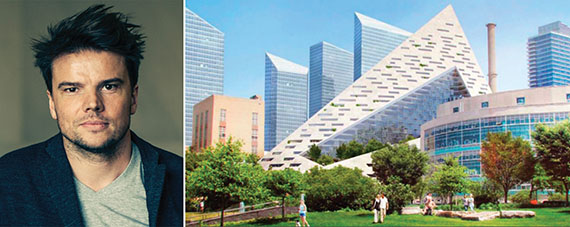 From left: Bjarke Ingels and a rendering of the pyramid building on West 57th Street
