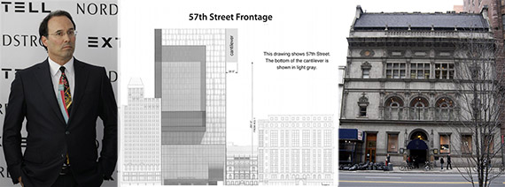 From left: Gary Barnett, plans for 225 West 57th Street and the exterior of the building