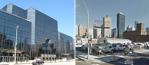 From left: the Jacob Javits Center and the corner of 38th Street and 11th Avenue