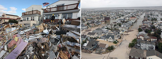 Hurricane Sandy damage in New York (left) and New Jersey (right)