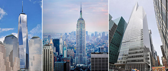 From left: One World Trade Center, the Empire State Building and 1111 Avenue of the Americas