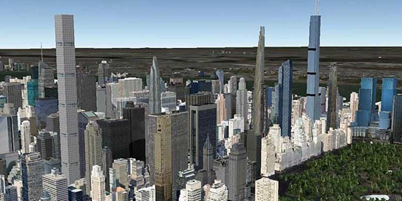 A rendering of the New York City skyline in 2020