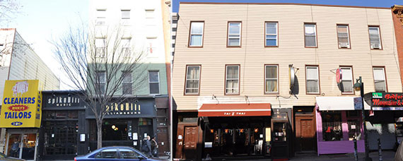 From left: 184-186 Bedford Avenue and 204-206 Bedford Avenue in Williamsburg