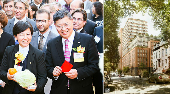 From left: Greenland USA CEO I Fei Chang and Greenland Group chairman Zhang Yuliang and Pacific Park Brooklyn