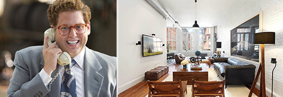 From left: Jonah Hill in The Wolf of Wall Street (Paramount Pictures) and 27 Howard Street