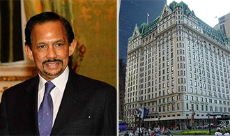 From left: the Sultan of Brunei Hassanal Bolkiah and the Plaza hotel