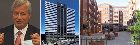 From left: JPMorgan Chase CEO Jamie Dimon, 575 Washington Boulevard in Jersey City and Curling Club Apartments in Hoboken