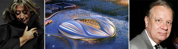 From left: Zaha Hadid, Al Wakrah stadium rendering and Martin Filler