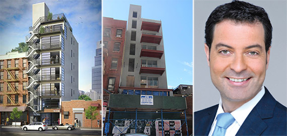 From left: 179 Ludlow Street rendering, the construction site and Ariel Tirosh