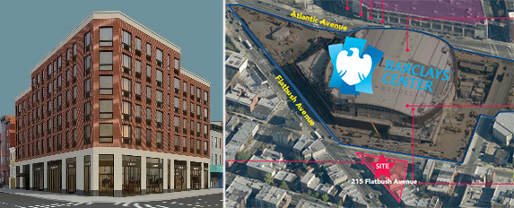 From left: Preliminary rendering of 215 Flatbush Avenue and the site's location
