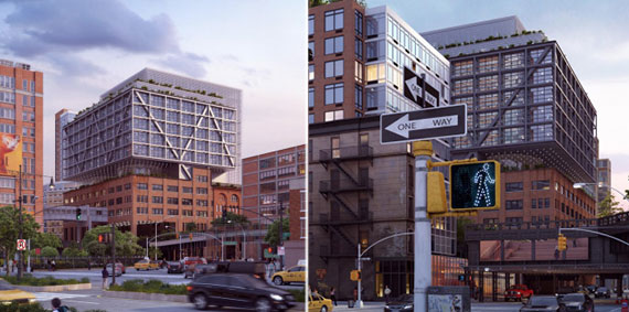 Renderings of Chelsea Market's 75 Ninth Avenue extension