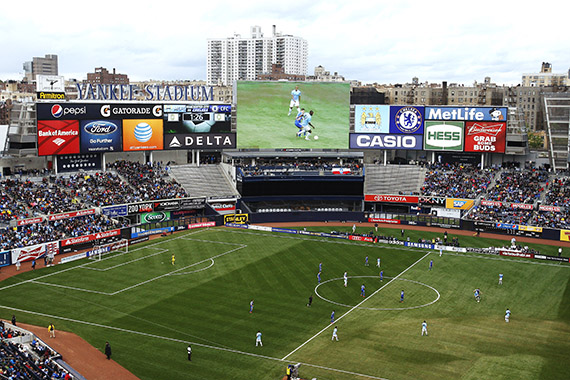 A soccer match at Yankee Stadium