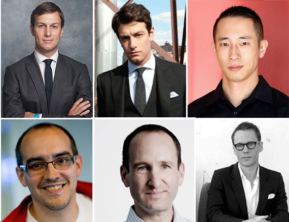 Clockwise from top left: Jared Kushner, Josh Kushner, Benjamin Ling, Alex Krug, David Frankel and Dave McClure