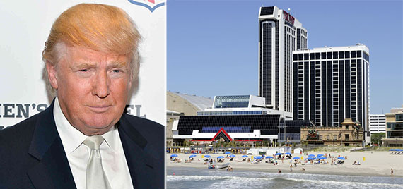 From left: Donald Trump and the Trump hotel and casino