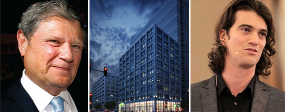 From left: Jerry Speyer, a rendering of the new facade of 175 Varick Street and Adam Neumann