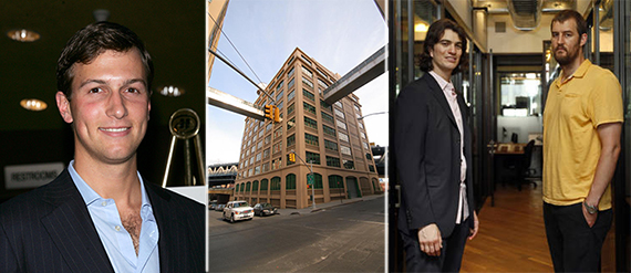 From left: Jared Kushner, 81 Prospect Street and WeWork founders Adam Neumann and Miguel McKelvey