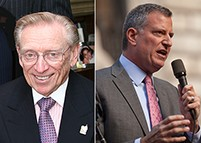 From left: Larry Silverstein and Bill de Blasio