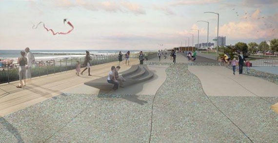 Rendering of a rebuilt Rockaways Boardwalk
