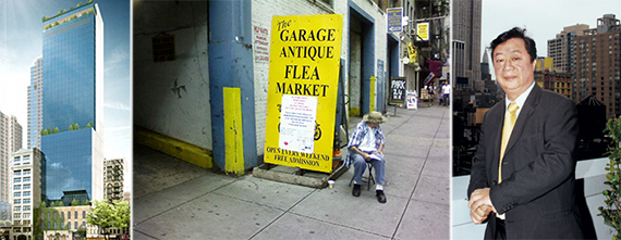 From left: A rendering of the new 112 West 25th Street, Antiques Garage flea market and John Lam