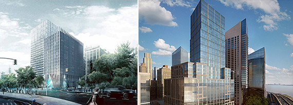 From left: Brooklyn Bridge Park tower rendering (Alloy Design + Bjarke Ingles Group) and 40 Riverside Drive rendering