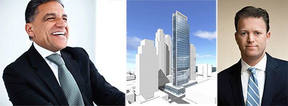 From left: Joseph Moinian, 605 West 42nd Street rendering and David Schonbraun